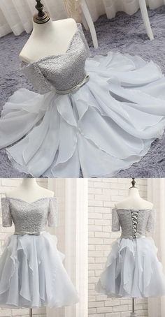Short Silver Party Homecoming Dresses With Bowknot Lace Up Mini Great Prom