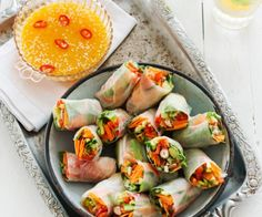 Asian vegetable rice-paper rolls with citrus chilli sauce - Nadia Lim Asian Vegetables, Fresh Vegetables, Rice Paper Rolls, Asian Slaw, Vegetable Rice, Sweet Chilli Sauce, Rice Recipes, Savoury Recipes, Wrap Recipes