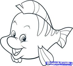 how to draw the little mermaid | How to Draw Flounder, Step by Step, Disney Characters, Cartoons, Draw ...