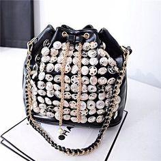 Women Rivet Leather Button Punk Drawstring Crossbody Bag