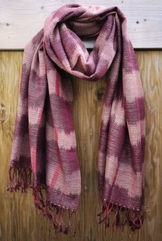 Ikat Scarf - Light Burgundy. Handwoven on traditional looms in the Philippines. $141 on Ethical Ocean. #handmade