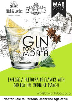 Churchills proudly presents their Inaugural Gin Foraging Festival on Sunday the 26th March.  Set to be an exciting Sunday afternoon of exploring the wonderful and exciting plethora of flavours.  You can look forward to delicious brands of Bombay Sapphire, Ginifer, Malfy, Tanqueray, The Botanist, Westcliff and Whitley Neill. Bombay Sapphire, March Month, Gin, Exploring, Sunday, Presents, Canning, Tableware, Food