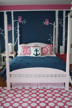 Navy & pink bedroom...i love everything about this:)