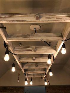 Rustic Reclaimed Ladder Hanging Light Fixture - All For Decoration Rustic Light Fixtures, Hanging Light Fixtures, Hanging Lights, Rustic Chandelier, Rustic Lighting, Hanging Ladder, Rustic Ladder, Rustic Bathroom Decor, Bedroom Rustic