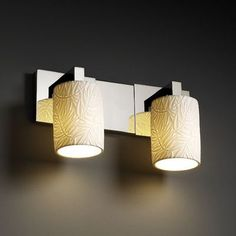 Justice Design Group Limoges Modular 2 Light Vanity Light Impression: Leaves, Finish: Matte Black