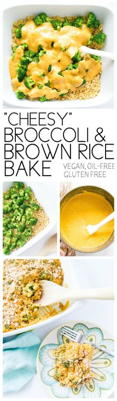 Cheesy Vegan Broccoli Brown Rice Bake. Vegan, Gluten Free, Oil Free. Seriously delicious!! Perfect cold weather casserole, easy and healthy ingredients!