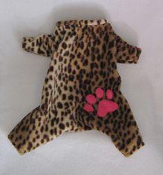 Little Dog Fashion Pet Boutique features designer, handmade leopard print fleece dog sleepwear pajamas, pjs jammies body suits with pink paw...  $44.00
