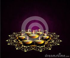Oil lamps with place for diwali greetings over dark violet background