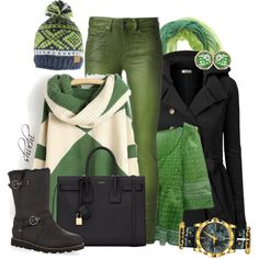 """""""Green and Black"""" by shuchiu on Polyvore"""