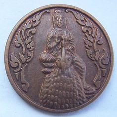 Buddhist amulet pendant china buddha statue fortune Mae Kuan Im Riding chicken