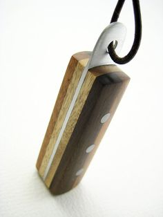 Handmade Wood Pendant with Aluminum Accents by RamshackleStudio