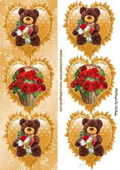 3 gold frilly hearts with bears and basket of roses tall DL by Nick Bowley 3 gold frilly hearts with bears and basket of roses tall DL,…