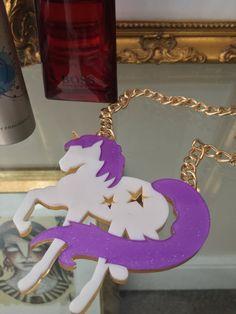 Laser Cut Acrylic Unicorn Fashion Necklace