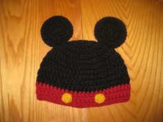 Mickey Mouse Inspired Hat with Round Ears Crochet by NeedleKrazy, $18.00