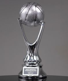 Show Details For Silver Metalized Basketball Trophy