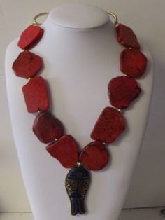 Red Turquoise Slab Lapis Bronze Glass Beads Sterling Necklace Earrings Free Ship
