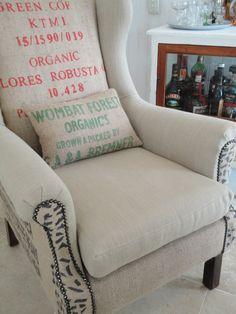Coffee sack chair with grain sack cushion