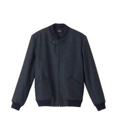 Motorcycle jacket in Scottish wool - Dark navy blue - A.P.C. MEN