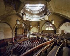 Yves Marchand & Romain Meffre Photography. The Woodward Avenue Presbyterian Church was built in 1911 by architect Sidney Badgley who was one of the first to develop Protestant churches following the Akron Plan pattern, that is with leisure spaces and an auditorium surrounded with a series of classrooms for Sunday school.