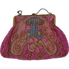 Vintage Bohemian Pink Beaded Purse