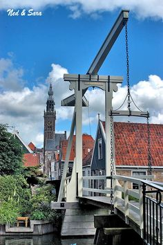 Drawbridge and church tower, Edam, The Netherlands. #Netherlands #travel