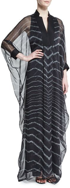 Halston Heritage 3/4-Sleeve Striped Caftan Gown, Black SAVE UP TO 75% OFF! CLICK FOR UPDATED SALES PRICE.