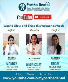 Partha Dental Upcoming Youtube Calendar For Partha Cosmetology. . Wanna Glow and Shine this Valentine's Week. Do Join us at our Youtube Channel. #ParthaDentalYoutubeLive #SkinandHairInformation #ParthaCosmodontist #BestSkinAndHairClinic #SkinCare Skin And Hair Clinic, Youtube Live, Cosmetology, Dental, Calendar, Skincare, Channel, Glow, Join