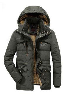 0f18749288c4 Plain Hooded Thick Zipper Mens Casual Winter Jacket jacket coat winter coat thick  jacket