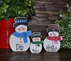 Personalized Snowmen Family SetChristmas home by BlocksOfLove1, $12.99