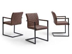 MAGNA II Stühle Esszimmer Büro Freischwinger Vintage Kunstleder Braun 4er  Set