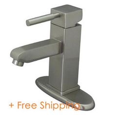 """Kingston Brass Concord Single Handle 4"""" Centerset Lavatory Faucet with Push-Up & Optional Deck Plate Satin Nickel KS8448DL"""