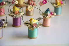 These are the ornaments I made for the Easter Ornament Swap I hosted. Spring Crafts, Holiday Crafts, Wooden Spool Crafts, Wooden Spools, Easter Tree Decorations, Easter Wreaths, Vintage Easter, Do It Yourself Home, Easter Crafts