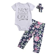 >> Click to Buy << 2017 Summer Children Newborn Baby Girls Romper +Long Pant Outfits Cotton Short Sleeve Clothes Set #Affiliate