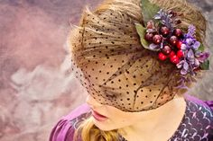 Cranberries  hair band with artificial flowers by ZIBtextile, $30.00