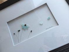 12 by 16 framed sea glass art by sharon nowlan by PebbleArt
