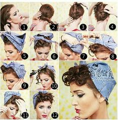 Coiffure avec un bandana cheveux – coiffures cool et tutoriels pin-up hairdressing tutorial with bandana and curly fringe Vintage Hairstyles Tutorial, Retro Hairstyles, Pin Up Hairstyles, Bandana Hairstyles Short, Wedding Hairstyles, Hairstyle Tutorials, School Hairstyles, Ladies Hairstyles, Simple Hairstyles
