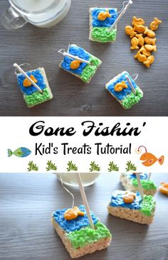 Gone Fishing Kid's Rice Krispy Treat tutorial - such a CUTE summer kid's snack! Easy to do - make a batch from scratch or use pre-made treats.