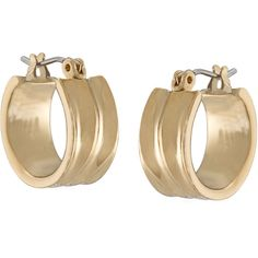 Lauren Ralph Lauren Small Gold-Tone Chubby Hoop Earrings ($30) ❤ liked on Polyvore