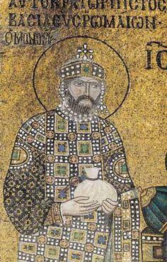 L'empereur byzantin Constantin IX Monomaque, détail de la mosaïque, basilique Sainte-Sophie, Istanbul, Turquie
