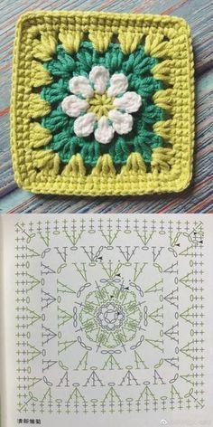 Transcendent Crochet a Solid Granny Square Ideas. Inconceivable Crochet a Solid Granny Square Ideas. Crochet Flower Squares, Crochet Square Blanket, Granny Square Crochet Pattern, Crochet Blocks, Crochet Diagram, Crochet Chart, Crochet Granny, Granny Granny, Crochet Flowers