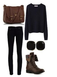 Black sweater   black jeans   dark boots   I would add a red belt or emerald or glitter.. any you want