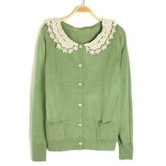 Green Buttons Lace Collarless Long Sleeve Cotton Sweatshirt (€18) found on Polyvore