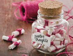 How to Create a Memory Jar! This is an amazing way to capture the best moments throughout the year! Happy Thoughts, Positive Thoughts, Negative Thoughts, Glass Jars, Mason Jars, Valentine Day Gifts, Valentines, Happy Jar, Jar Gifts