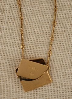 how PRECIOUS??? #exvotovintage  http://www.exvotovintage.com/shop/bridal/gold-envelope-locket-necklace/#