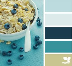 breakfast blues - mommy likes this color palette Colour Pallette, Color Palate, Colour Schemes, Color Combos, Color Patterns, Design Seeds, Colour Board, World Of Color, Color Stories