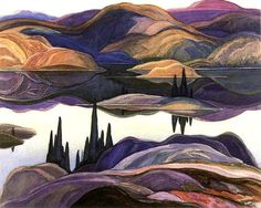 Franklin Carmichael (Canadian, Group of Seven, Mirror Lake, 1929 © 2010 McMichael Canadian Art Collection. Group Of Seven Artists, Group Of Seven Paintings, Landscape Quilts, Landscape Art, Landscape Paintings, Art Paintings, Paintings Famous, Abstract Paintings, Canadian Painters