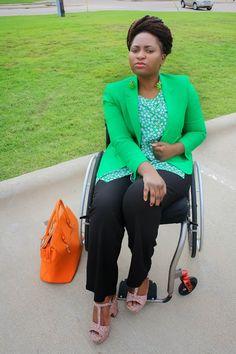 Wheelchair Fashion: Fall/Autumn Look - OOTD, Thrift Finds, Orange Bag