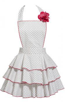Petite Dot Party Apron in White