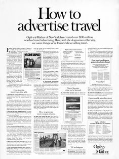 An exclusive example from our swipe file . How to Advertise Travel Ad by David Ogilvy - one of the many profitable marketing & rare copywriting examples from our huge archive. Clever Advertising, Advertising Quotes, Marketing Quotes, Best Advertising Campaigns, Advertising Agency, Advertising Techniques, Sales Letter, Swipe File, Travel Ads