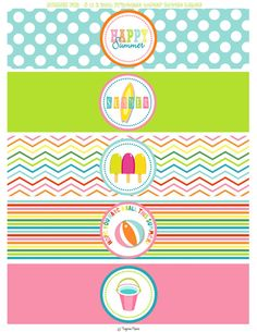 INSTANT DOWNLOAD -- Summer Fun Printable Water Bottle Labels -- Summer Party -- End of School Year